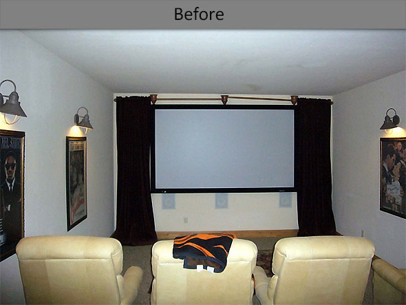 Home theater before remodel